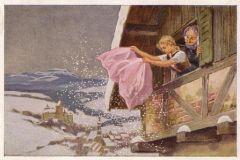 Госпожа Метелица - Dame Hiver (Dame Holle), сказка братьев Гримм на французском языке